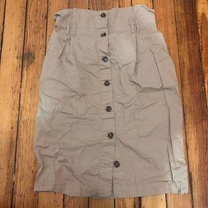 Paper Bag Waist Khaki Midi Button Up Skirt